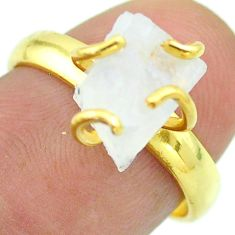 Solitaire rainbow moonstone slice raw 925 silver 14k gold ring size 7 t52187