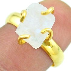 Solitaire rainbow moonstone slice raw 925 silver 14k gold ring size 7 t52190