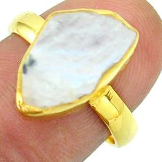 Solitaire rainbow moonstone slice raw 925 silver 14k gold ring size 7 t52209