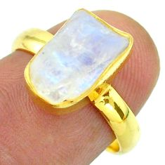 Solitaire rainbow moonstone slice raw 925 silver 14k gold ring size 7 t52221
