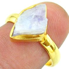 Solitaire rainbow moonstone slice raw 925 silver 14k gold ring size 7 t52222