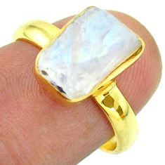 Solitaire rainbow moonstone slice raw 925 silver 14k gold ring size 7 t52223