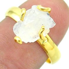 Solitaire rainbow moonstone slice raw 925 silver 14k gold ring size 8 t52192