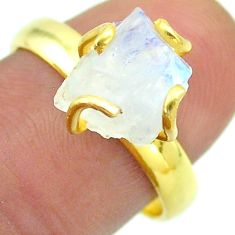 Solitaire rainbow moonstone slice raw 925 silver 14k gold ring size 8 t52196