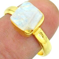 Solitaire rainbow moonstone slice raw 925 silver 14k gold ring size 8 t52206