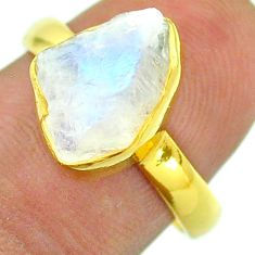 Solitaire rainbow moonstone slice raw 925 silver 14k gold ring size 8 t52212