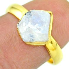 Solitaire rainbow moonstone slice raw 925 silver 14k gold ring size 8 t52215