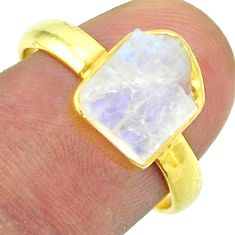 Solitaire rainbow moonstone slice raw 925 silver 14k gold ring size 8 t52225