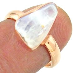 Solitaire rainbow moonstone slice raw 925 silver rose gold ring size 7 t52227