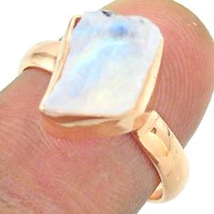 Solitaire rainbow moonstone slice raw 925 silver rose gold ring size 7 t52230