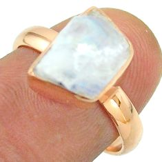 Solitaire rainbow moonstone slice raw 925 silver rose gold ring size 7 t52231