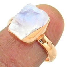 Solitaire rainbow moonstone slice raw 925 silver rose gold ring size 7 t52235