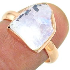 Solitaire rainbow moonstone slice raw 925 silver rose gold ring size 7 t52236