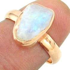 Solitaire rainbow moonstone slice raw 925 silver rose gold ring size 7 t52237