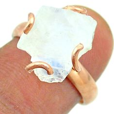 Solitaire rainbow moonstone slice raw 925 silver rose gold ring size 7 t52246