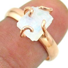 Solitaire rainbow moonstone slice raw 925 silver rose gold ring size 7 t52247