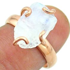 Solitaire rainbow moonstone slice raw 925 silver rose gold ring size 7 t52249