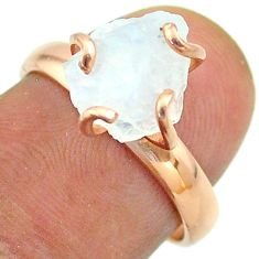 Solitaire rainbow moonstone slice raw 925 silver rose gold ring size 7 t52255