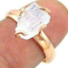 Solitaire rainbow moonstone slice raw 925 silver rose gold ring size 7 t52273