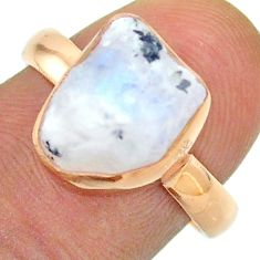 Solitaire rainbow moonstone slice raw 925 silver rose gold ring size 8 t52226