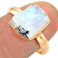 Solitaire rainbow moonstone slice raw 925 silver rose gold ring size 8 t52240
