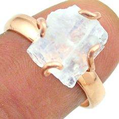 Solitaire rainbow moonstone slice raw 925 silver rose gold ring size 8 t52241