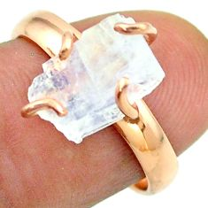 Solitaire rainbow moonstone slice raw 925 silver rose gold ring size 8 t52251