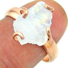 Solitaire rainbow moonstone slice raw 925 silver rose gold ring size 8 t52252