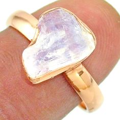Solitaire rainbow moonstone slice raw 925 silver rose gold ring size 8 t52253