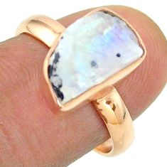 Solitaire rainbow moonstone slice raw 925 silver rose gold ring size 8 t52259