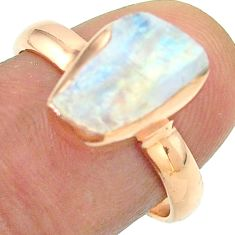 Solitaire rainbow moonstone slice raw 925 silver rose gold ring size 8 t52260
