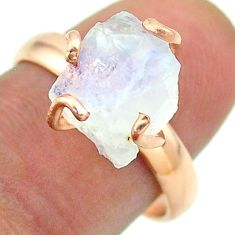 Solitaire rainbow moonstone slice raw 925 silver rose gold ring size 8 t52275