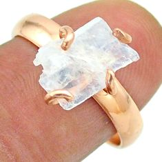 Solitaire rainbow moonstone slice raw 925 silver rose gold ring size 8 t52278
