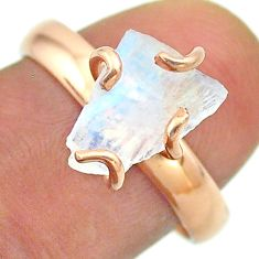 Solitaire rainbow moonstone slice raw 925 silver rose gold ring size 8 t52280