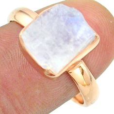 Solitaire rainbow moonstone slice raw 925 silver rose gold ring size 9 t52232