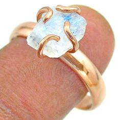 Solitaire rainbow moonstone slice raw 925 silver rose gold ring size 9 t52243