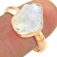 Solitaire rainbow moonstone slice raw 925 silver rose gold ring size 9 t52245