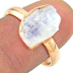 Solitaire rainbow moonstone slice raw 925 silver rose gold ring size 9 t52254