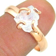 Solitaire rainbow moonstone slice raw 925 silver rose gold ring size 9 t52257