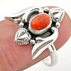 1.47cts solitaire red copper turquoise 925 silver heart ring size 9 t40746