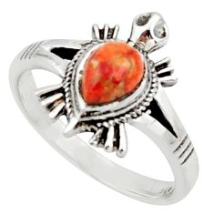 1.46cts solitaire red copper turquoise 925 silver tortoise ring size 7 r40653