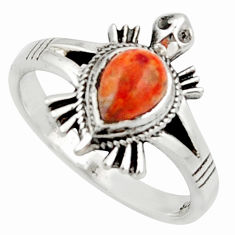 1.48cts solitaire red copper turquoise 925 silver tortoise ring size 7 r40654