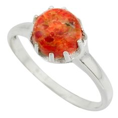 2.73cts solitaire red copper turquoise 925 sterling silver ring size 8.5 r41967