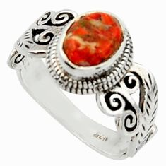 2.12cts solitaire red copper turquoise 925 sterling silver ring size 8 r40730