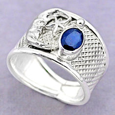 1.64cts solitaire sapphire 925 silver crescent moon star ring size 8.5 t32363