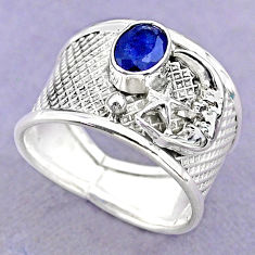 1.58cts solitaire sapphire 925 silver crescent moon star ring size 8.5 t32392