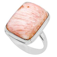 16.70cts solitaire scolecite high vibration crystal silver ring size 10 t24649