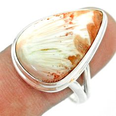 15.78cts solitaire scolecite high vibration crystal silver ring size 10 t54228