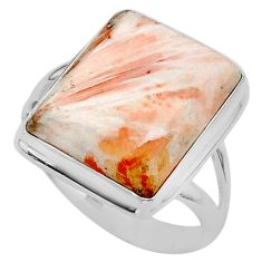 17.69cts solitaire scolecite high vibration crystal silver ring size 11 t24654