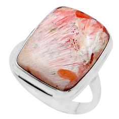 14.93cts solitaire scolecite high vibration crystal silver ring size 9.5 t24625